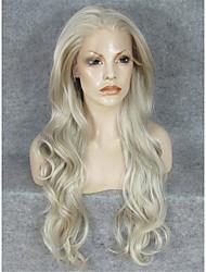 Недорогие -Парики из искусственных волос Волнистый Блондинка Искусственные волосы Блондинка Парик Лента спереди