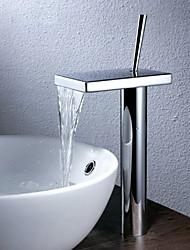 Недорогие -Ванная раковина кран - Водопад Хром Чаша Одно отверстие / Одной ручкой одно отверстиеBath Taps / Латунь