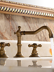 cheap -Contemporary Antique Traditional Modern Widespread Widespread Ceramic Valve Three Holes Two Handles Three Holes Antique Copper , Bathtub