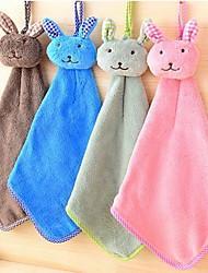 Cute Little Bunny Hanging Coral Velvet Thick Absorbent Hand Towel(Random Color)