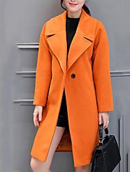 Kaput Žene,Slatko / Ulični šik Plus veličine / Vjenčanje Jednobojni-Dugih rukava Jesen / Zima-Klasični rever Narančasta Debelo Poliester