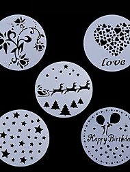 cheap -5Pcs Lot Cake Stencil Plastic Cookie Cake Stencil Fondant  Decoration  Wedding Flower Cookie Stencil Christmas