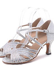 cheap -Women's Latin Shoes Sparkling Glitter Sandal / Heel Rhinestone / Sparkling Glitter / Buckle Flared Heel Customizable Dance Shoes Pink / Golden / Light Green / Performance / Leather / Professional