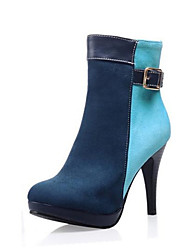 Women's  Fashion Boots / Round Toe Velvet Dress / Casual Stiletto Heel Buckle / Split Joint / ZipperBlack /