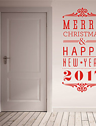 cheap -AYA DIY Wall Stickers Wall Decals Christmas Festival Merry Chritmas & Happy New Year 2017 Style PVC Stickers 42*90cm