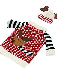 Недорогие -Рождественский олень лося стиль красного вина шампанского бутылка охватывает мешок для нового года ужин праздничные украшения