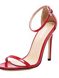 Feminino-Sandálias-Conforto-Salto Agulha-Preto Vermelho Branco Amêndoa-Couro PVC-Casamento Social