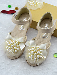 Girls' Sandals Microfibre Summer Outdoor Pearl Flower Flat Heel Beige Blushing Pink Flat