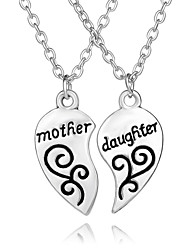 cheap -Hot Sale Mother & Daughter Double Heart Pendant Necklace The Best Gift For Mom Women Jewelry Mother's Day Gifts