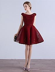 preiswerte -A-line Schaufel Hals kurz / Mini Tüll Cocktail Party Kleid mit Applikationen
