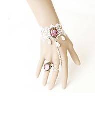 Lolita Accessories Classic/Traditional Lolita Bracelet/Bangle Victorian White Lolita Accessories Bracelet Lace For Artificial Gemstones