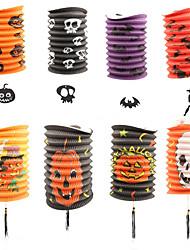 5PCS Pumpkin Lanterns Telescopic Cylindrical Paper Lanterns Halloween Props Decorations Supplies