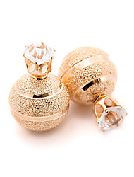 cheap -New Arrival Vintage Fashion Solid Color Double Sides Ball Stud Earrings Gold Plated Cute Crystal Earrings For Women