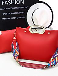 Damen Taschen Frühling Sommer Herbst Winter Ganzjährig PU Bag Set Niete Rüschen für Einkauf Normal Formal Purpur Rot Wein Dunkelrosa Dark