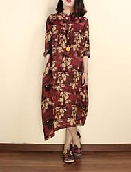 abordables -Mujer Corte Ancho Vestido Casual/Diario Tejido Oriental,Floral Escote Chino Midi 1/2 Manga Azul / Rojo Lino Verano Tiro Medio Rígido Medio