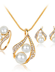 cheap -Women's Pearl Imitation Pearl Rhinestone Silver Plated Jewelry Set Rings Earrings Necklace - Fashion White Jewelry Set For Wedding Party