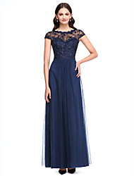A-Line Jewel Neck Floor Length Lace Tulle Bridesmaid Dress with Buttons Lace by LAN TING BRIDE®