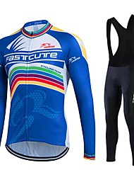 Fastcute Cycling Jersey with Bib Tights Men's Women's Unisex Long Sleeves Bike Tights Bib Tights Pants/Trousers/Overtrousers Tracksuit