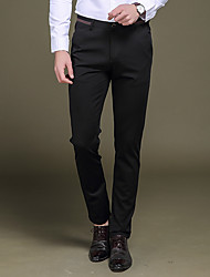 Men's Low Rise Micro-elastic Suit Chinos Pants,Street chic Vintage Simple Straight Slim Pure Color Solid