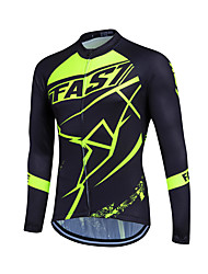 cheap -Fastcute Men's Women's Long Sleeves Cycling Jersey - Light Green Dark Green Bike Jersey, Thermal / Warm, Quick Dry, Breathable,