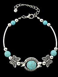 Silver Plated Imitation Turquoise Butterfly Charms Bracelets