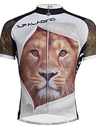 abordables -ILPALADINO Homme Manches Courtes Maillot de Cyclisme Animal Lion Cyclisme Maillot Hauts / Top, Respirable Séchage rapide Résistant aux ultraviolets 100 % Polyester / Elastique / Anti-transpiration