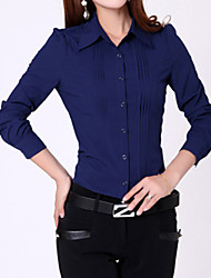 Women's Formal Simple All Seasons Shirt,Solid Long Sleeve Blue / White Medium