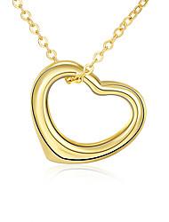 Femme Pendentif de collier Colliers chaînes Zircon cubique Forme de Coeur Zircon Plaqué or AlliageBasique Circulaire Original Pendant