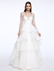 cheap -A-Line Illusion Neckline Floor Length Organza Wedding Dress with Tiered by LAN TING BRIDE®