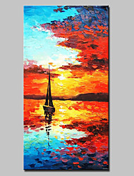 cheap -Large Hand Painted Modern Abstract Boat Seaview Oil Painting On Canvas Wall Art With Stretched Frame Ready To Hang