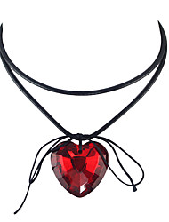 cheap -Women's Crossover Pendant Necklace / Collar Necklace - Heart Bohemian, Gothic, Fashion White, Black, Red Necklace For Party, Daily, Casual