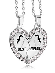 cheap -New Fashion Best Friends Broken Heart Animal Pendants & Necklaces Austria Crystal Necklace Gift For Friends Jewelry