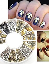3D Metal Nail Art Deocration Fashion Rhinestone Wheel Gold Silver Nail Studs