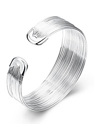 cheap -Women's Cuff Bracelet Statement Jewelry Fashion Simple Style European Sterling Silver Silver Plated Alloy Line Jewelry Party Daily Casual