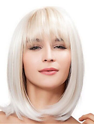 cheap -Synthetic Wig Straight Bob Haircut / With Bangs Synthetic Hair With Bangs Blonde / White Wig Women's Natural Wigs