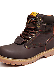 Men's Boots Fall / Winter Round Toe PU Outdoor Flat Heel  / Lace-up Black / Brown / Gold