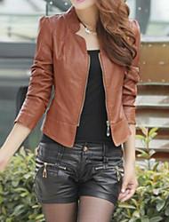 Недорогие -Жен. На каждый день Осень Весна Короткая Кожаные куртки V-образный вырез, Изысканный и современный Однотонный Кожа Формальный