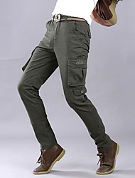 Men's Solid Casual JeansCotton Black / Green WJL-6808