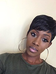 cheap -kinky straight Short Straight With Bangs Human Hair Wigs Side Part Short Natural Black Medium Auburn Medium Auburn/Bleach Blonde