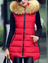 cheap -Women's Winter Popular Fur Hooded Slim Down Vest More Colors