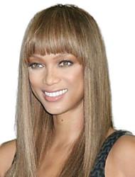 le donne i capelli sintetici lungo rettilineo parrucche pieno botto calore marrone fibra resistente a basso costo partito cosplay parrucca di capelli