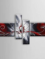 cheap -Hand-painted Oil Paintings Abstract  Phoenix Red White Flowing Lines  Wall Art Stretched Frame Ready To Hang