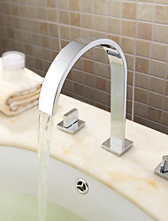 cheap -Contemporary Modern Widespread Widespread Ceramic Valve Three Holes Two Handles Three Holes Chrome , Bathtub Faucet Bathroom Sink Faucet