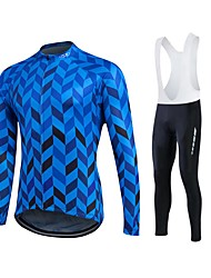 cheap -Fastcute Men's / Women's Long Sleeve Cycling Jersey with Bib Tights Bike Pants / Trousers / Jersey / Tights, 3D Pad, Quick Dry, Breathable Polyester, Lycra / Stretchy / Sweat-wicking / Clothing Suit