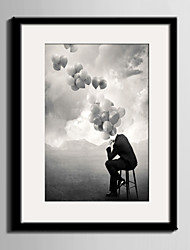 cheap -E-HOME® Framed Canvas Art, Thinking of The Balloon Framed Canvas Print One Pcs