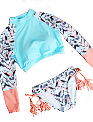 High quality New Fashion Sexy Geometric Printing Long sleeve Bikini set Tassel Solid low waist Women Swimwear