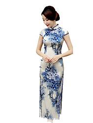 preiswerte -Rock Klassische/Traditionelle Lolita Cosplay Lolita Kleider Blau Vintage Kurzarm Normallänge Für Seide