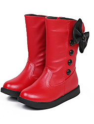Girl's Boots Spring / Fall Combat Boots PU Casual Flat Heel Zipper Black / Red / White
