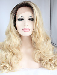 cheap -Hair Wig Premium Blonde Ombre Wig Dark Root Long Natural Body Wave Wig Synthetic Lace Front Wigs