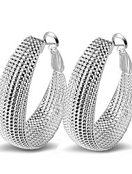 cheap -Fine 925 Silver Pierced Hoop Stud Earrings for Women4.2*3.2)